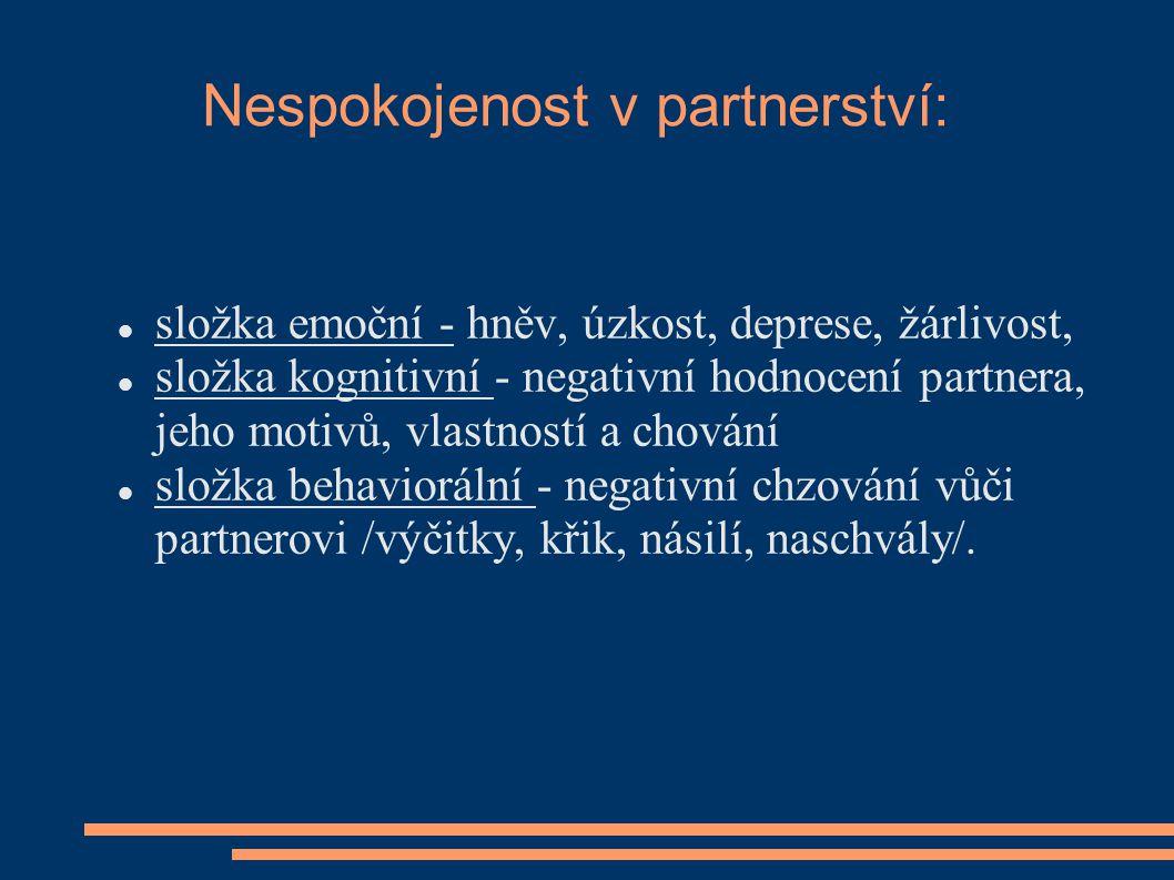 Nespokojenost v partnerství: složka emoční - hněv, úzkost, deprese, žárlivost, složka kognitivní - negativní hodnocení partnera, jeho motivů, vlastnos