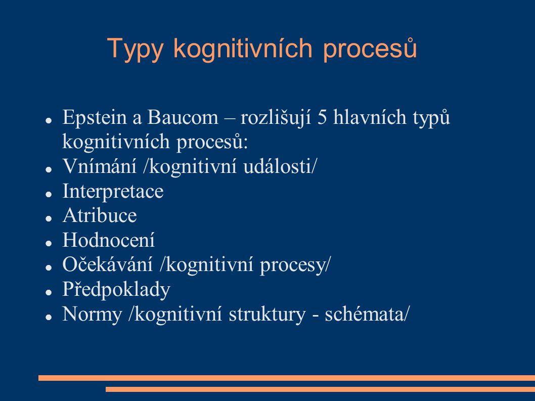 Typy kognitivních procesů Epstein a Baucom – rozlišují 5 hlavních typů kognitivních procesů: Vnímání /kognitivní události/ Interpretace Atribuce Hodno