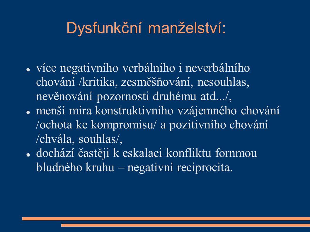 Dysfunkční manželství: více negativního verbálního i neverbálního chování /kritika, zesměšňování, nesouhlas, nevěnování pozornosti druhému atd.../, me