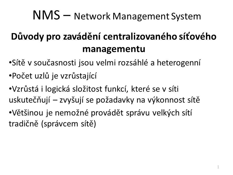 NMS – Network Management System Důvody pro zavádění centralizovaného síťového managementu Sítě v současnosti jsou velmi rozsáhlé a heterogenní Počet u