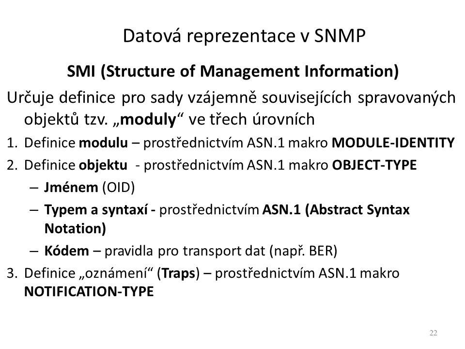"""22 Datová reprezentace v SNMP SMI (Structure of Management Information) Určuje definice pro sady vzájemně souvisejících spravovaných objektů tzv. """"mod"""