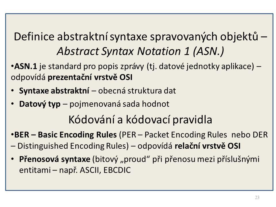 23 Definice abstraktní syntaxe spravovaných objektů – Abstract Syntax Notation 1 (ASN.) ASN.1 je standard pro popis zprávy (tj. datové jednotky aplika