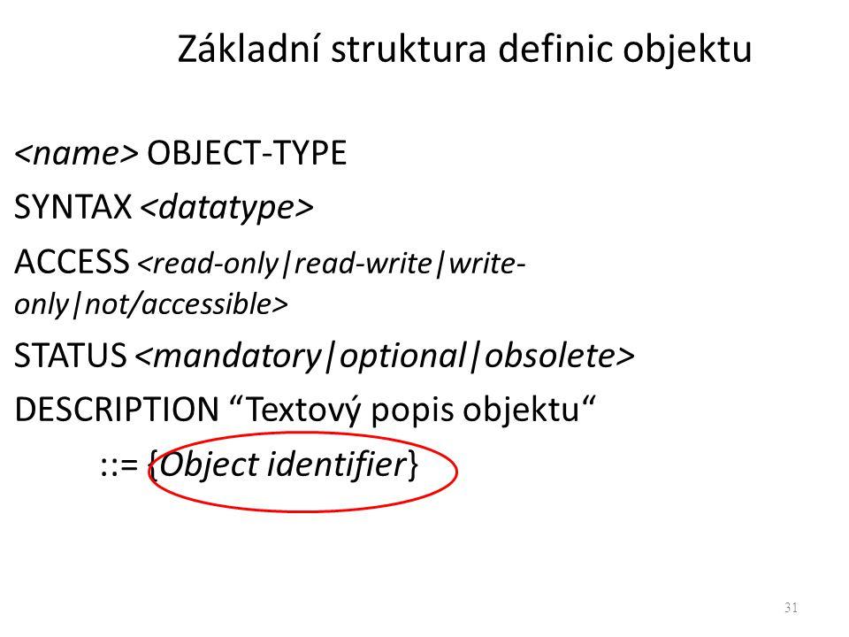 """31 OBJECT-TYPE SYNTAX ACCESS STATUS DESCRIPTION """"Textový popis objektu"""" ::= {Object identifier} Základní struktura definic objektu"""