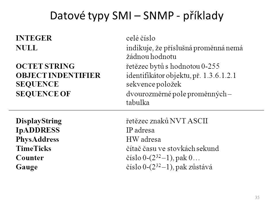 35 Datové typy SMI – SNMP - příklady INTEGERcelé číslo NULL indikuje, že příslušná proměnná nemá žádnou hodnotu OCTET STRINGřetězec bytů s hodnotou 0-