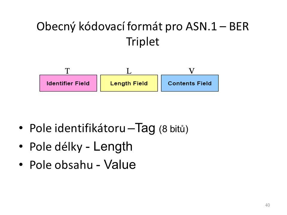 40 Obecný kódovací formát pro ASN.1 – BER Triplet Pole identifikátoru –Tag (8 bitů) Pole délky - Length Pole obsahu - Value 40