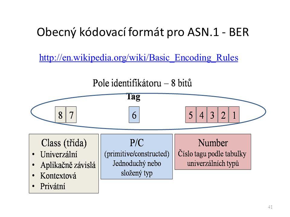 41 Obecný kódovací formát pro ASN.1 - BER http://en.wikipedia.org/wiki/Basic_Encoding_Rules
