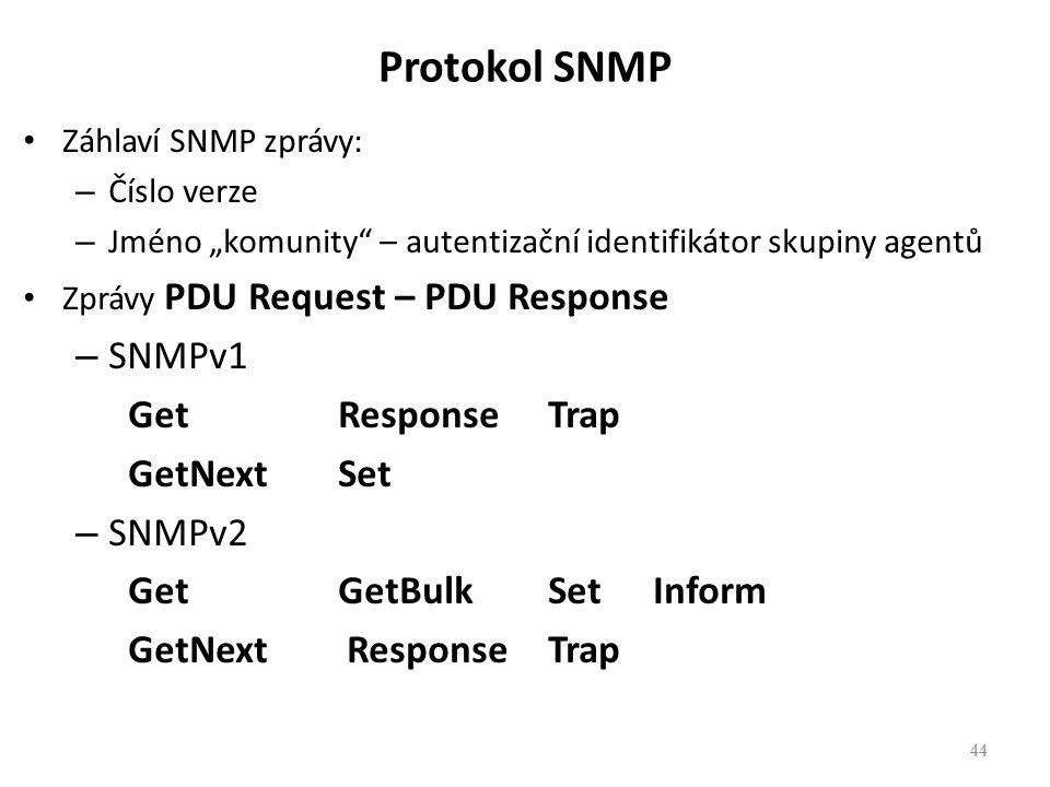 """44 Protokol SNMP Záhlaví SNMP zprávy: – Číslo verze – Jméno """"komunity"""" – autentizační identifikátor skupiny agentů Zprávy PDU Request – PDU Response –"""