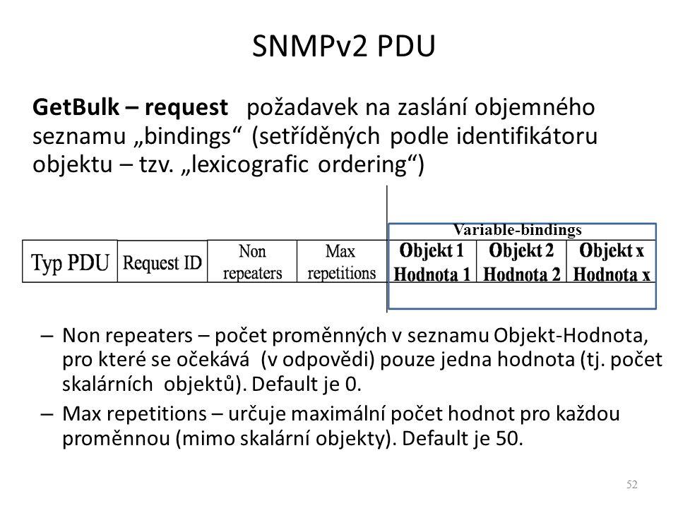 """52 SNMPv2 PDU 52 GetBulk – request požadavek na zaslání objemného seznamu """"bindings"""" (setříděných podle identifikátoru objektu – tzv. """"lexicografic or"""