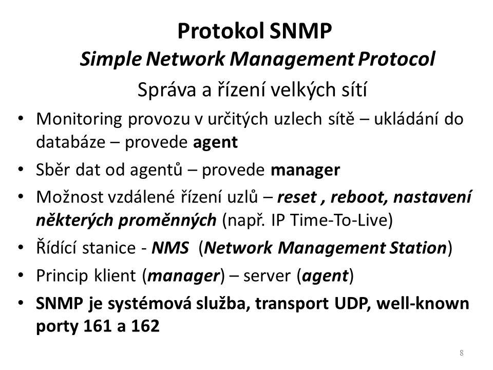 8 Protokol SNMP Simple Network Management Protocol Správa a řízení velkých sítí Monitoring provozu v určitých uzlech sítě – ukládání do databáze – pro