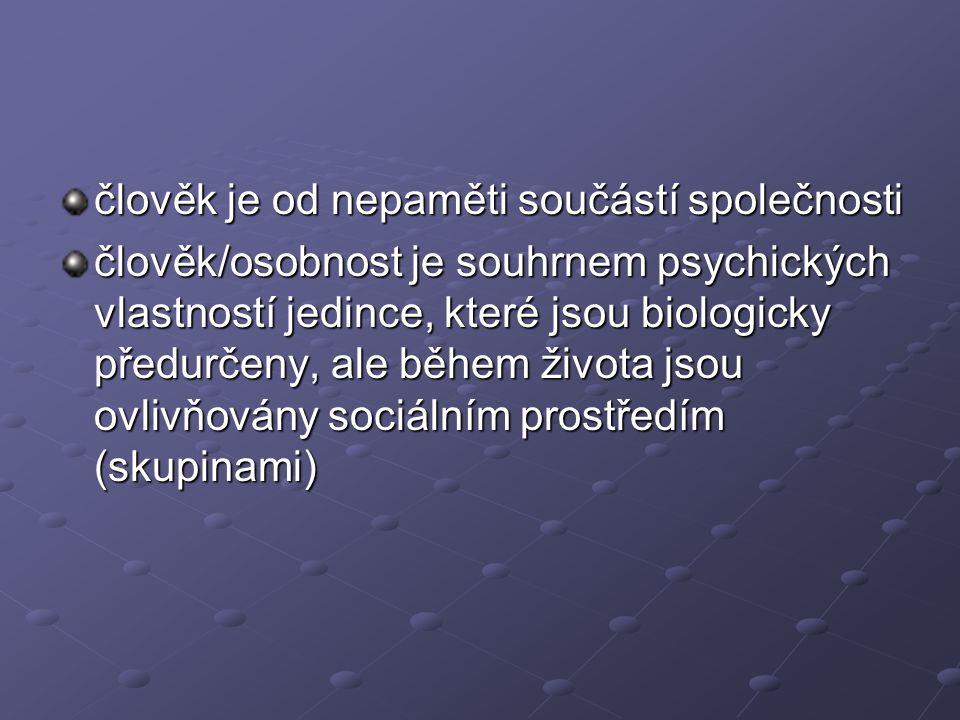 člověk je od nepaměti součástí společnosti člověk/osobnost je souhrnem psychických vlastností jedince, které jsou biologicky předurčeny, ale během živ