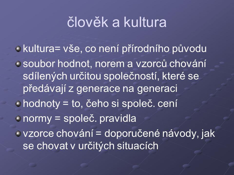 člověk a kultura kultura= vše, co není přírodního původu soubor hodnot, norem a vzorců chování sdílených určitou společností, které se předávají z gen