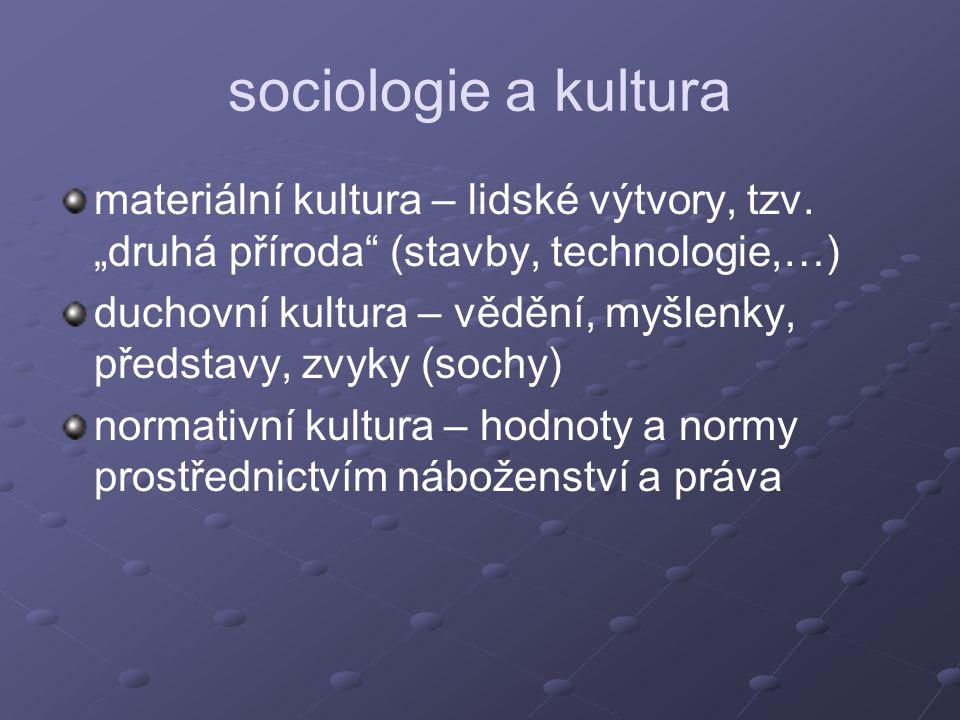 """sociologie a kultura materiální kultura – lidské výtvory, tzv. """"druhá příroda"""" (stavby, technologie,…) duchovní kultura – vědění, myšlenky, představy,"""