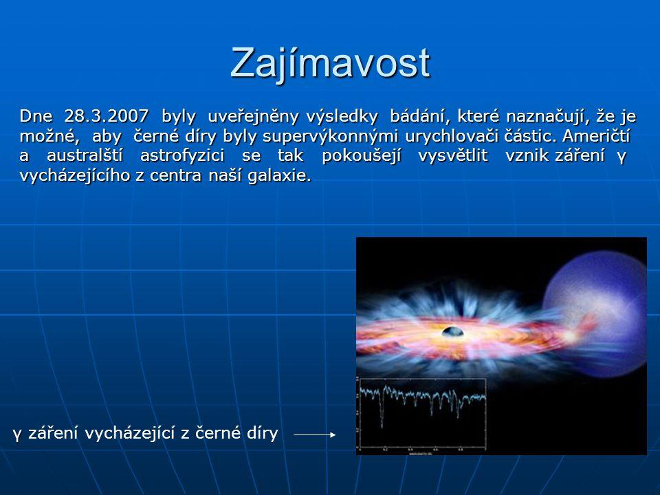 Zajímavost Dne 28.3.2007 byly uveřejněny výsledky bádání, které naznačují, že je možné, aby černé díry byly supervýkonnými urychlovači částic. Američt