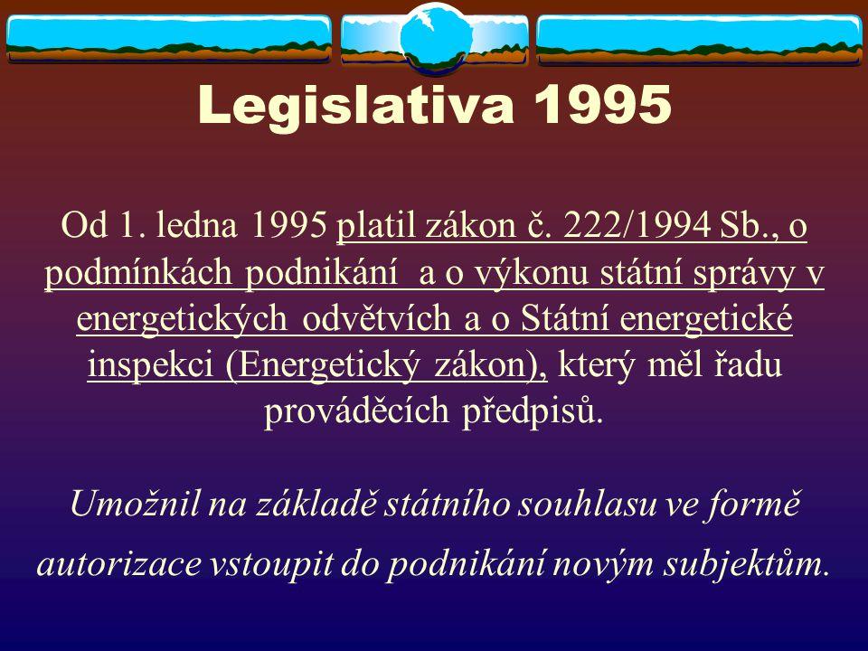 Legislativa 1995 Od 1. ledna 1995 platil zákon č. 222/1994 Sb., o podmínkách podnikání a o výkonu státní správy v energetických odvětvích a o Státní e