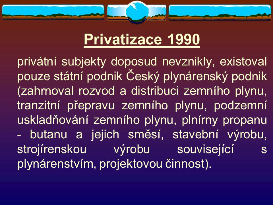 Privatizace 1990 privátní subjekty doposud nevznikly, existoval pouze státní podnik Český plynárenský podnik (zahrnoval rozvod a distribuci zemního pl