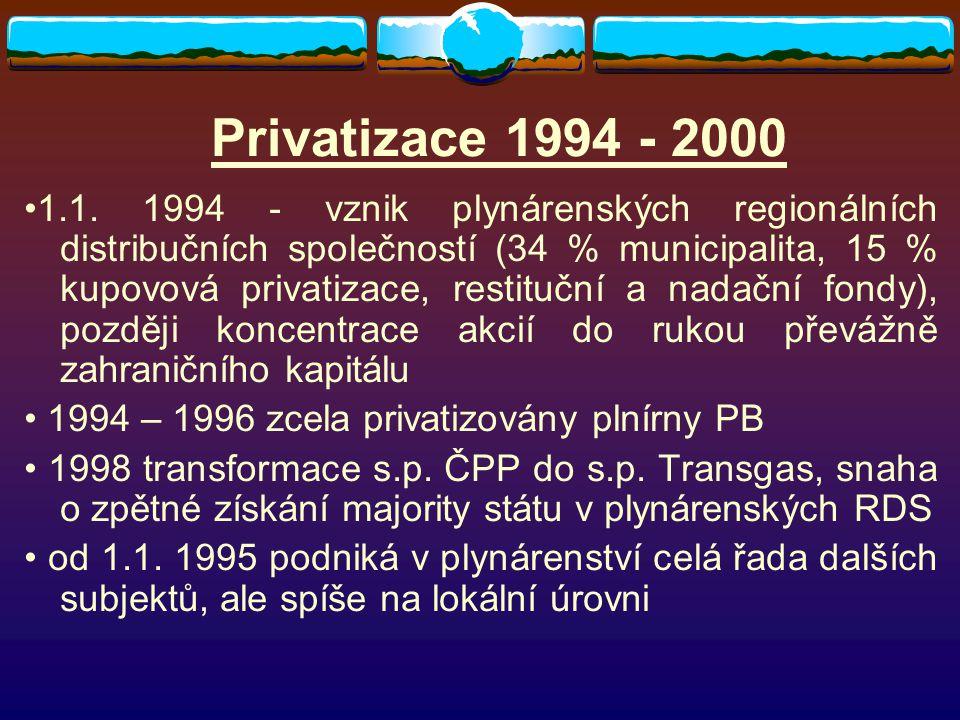 Privatizace 1994 - 2000 1.1. 1994 - vznik plynárenských regionálních distribučních společností (34 % municipalita, 15 % kupovová privatizace, restituč