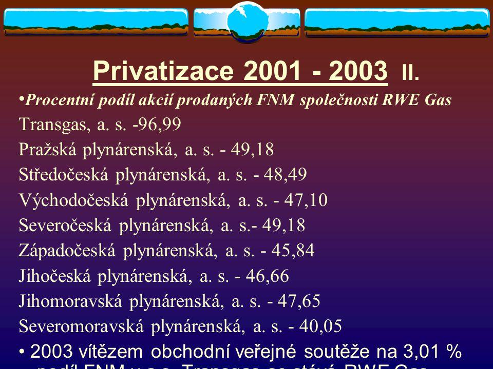 Privatizace 2001 - 2003 II. Procentní podíl akcií prodaných FNM společnosti RWE Gas Transgas, a. s. -96,99 Pražská plynárenská, a. s. - 49,18 Středoče