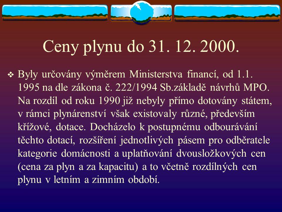 Ceny plynu do 31. 12. 2000.  Byly určovány výměrem Ministerstva financí, od 1.1. 1995 na dle zákona č. 222/1994 Sb.základě návrhů MPO. Na rozdíl od r
