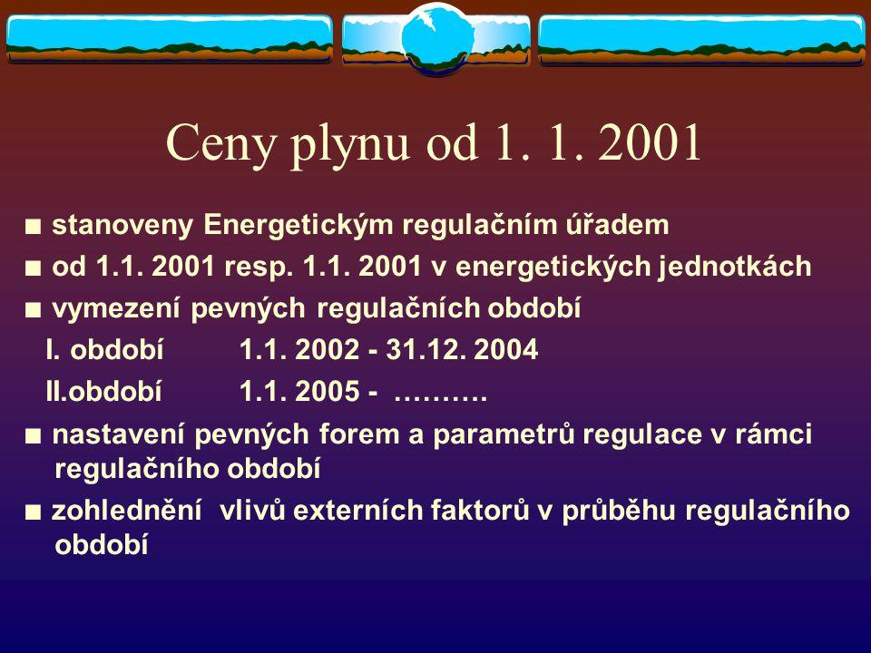Ceny plynu od 1. 1. 2001 ∎ stanoveny Energetickým regulačním úřadem ∎ od 1.1. 2001 resp. 1.1. 2001 v energetických jednotkách ∎ vymezení pevných regul