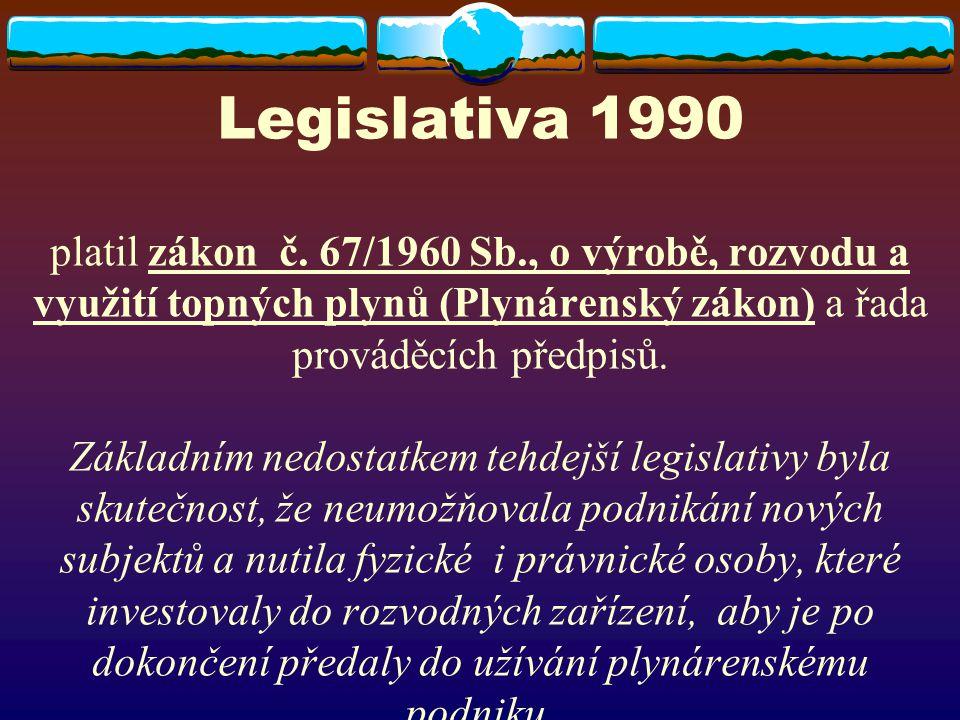 Legislativa 1990 platil zákon č. 67/1960 Sb., o výrobě, rozvodu a využití topných plynů (Plynárenský zákon) a řada prováděcích předpisů. Základním ned