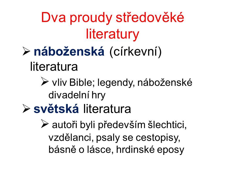 Dva proudy středověké literatury  náboženská (církevní) literatura  vliv Bible; legendy, náboženské divadelní hry  světská literatura  autoři byli především šlechtici, vzdělanci, psaly se cestopisy, básně o lásce, hrdinské eposy