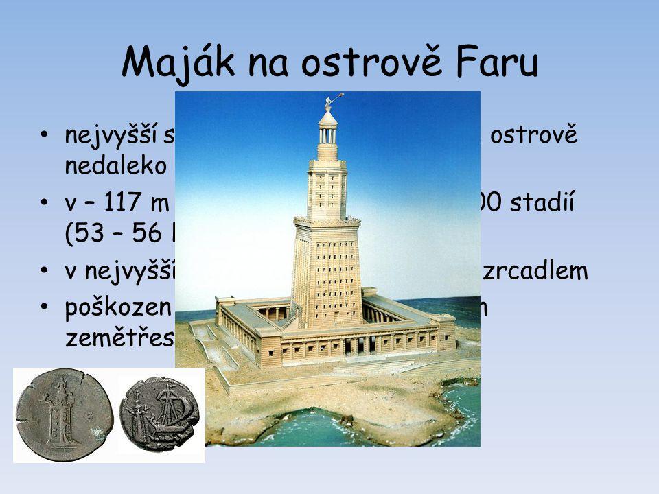 Maják na ostrově Faru nejvyšší stavba tehdejšího světa na ostrově nedaleko Alexandrie v – 117 m (180m), viditelnost cca 300 stadií (53 – 56 km) v nejv