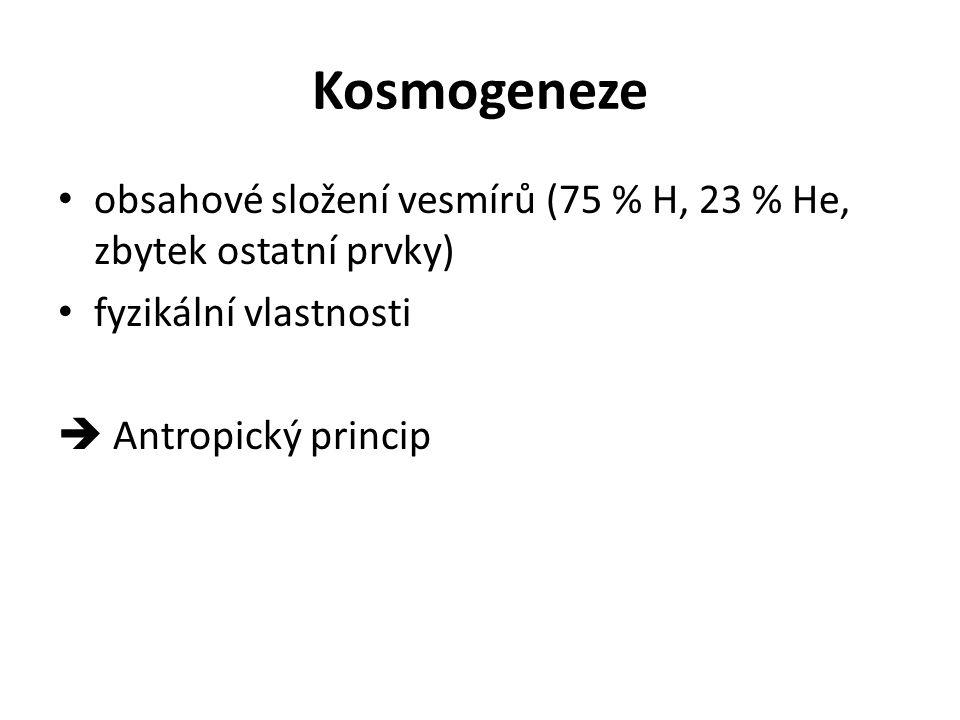 Kosmogeneze obsahové složení vesmírů (75 % H, 23 % He, zbytek ostatní prvky) fyzikální vlastnosti  Antropický princip