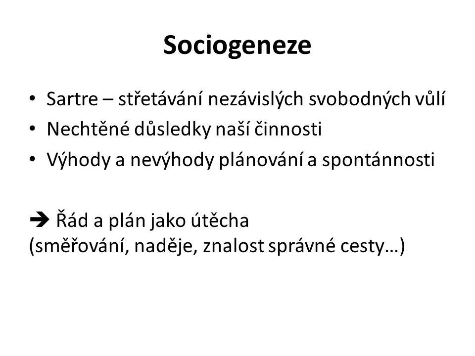 Sociogeneze Sartre – střetávání nezávislých svobodných vůlí Nechtěné důsledky naší činnosti Výhody a nevýhody plánování a spontánnosti  Řád a plán jako útěcha (směřování, naděje, znalost správné cesty…)