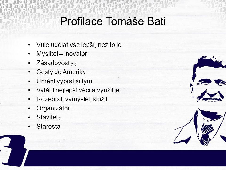 Profilace Tomáše Bati Vůle udělat vše lepší, než to je Myslitel – inovátor Zásadovost (10) Cesty do Ameriky Umění vybrat si tým Vytáhl nejlepší věci a