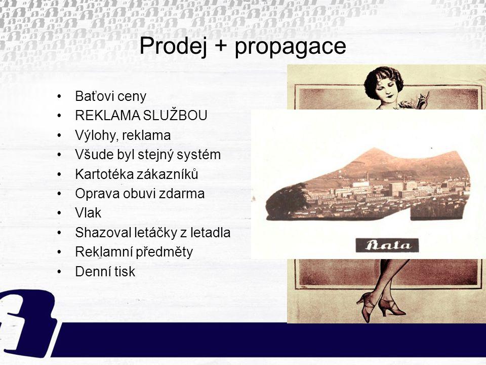 Prodej + propagace Baťovi ceny REKLAMA SLUŽBOU Výlohy, reklama Všude byl stejný systém Kartotéka zákazníků Oprava obuvi zdarma Vlak Shazoval letáčky z
