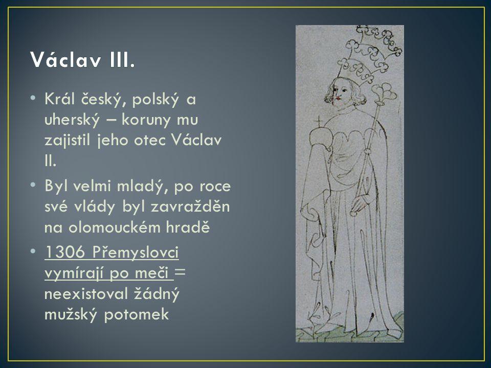 Král český, polský a uherský – koruny mu zajistil jeho otec Václav II. Byl velmi mladý, po roce své vlády byl zavražděn na olomouckém hradě 1306 Přemy