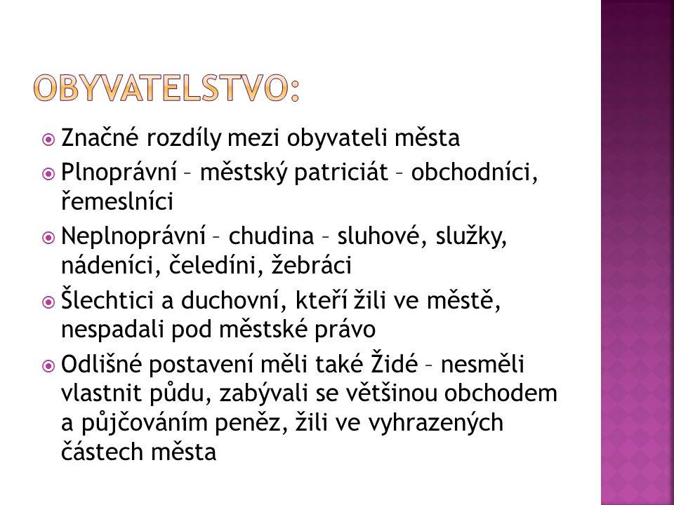  Značné rozdíly mezi obyvateli města  Plnoprávní – městský patriciát – obchodníci, řemeslníci  Neplnoprávní – chudina – sluhové, služky, nádeníci,