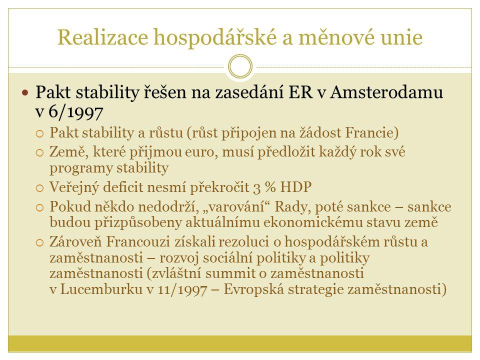 """Realizace hospodářské a měnové unie Pakt stability řešen na zasedání ER v Amsterodamu v 6/1997  Pakt stability a růstu (růst připojen na žádost Francie)  Země, které přijmou euro, musí předložit každý rok své programy stability  Veřejný deficit nesmí překročit 3 % HDP  Pokud někdo nedodrží, """"varování Rady, poté sankce – sankce budou přizpůsobeny aktuálnímu ekonomickému stavu země  Zároveň Francouzi získali rezoluci o hospodářském růstu a zaměstnanosti – rozvoj sociální politiky a politiky zaměstnanosti (zvláštní summit o zaměstnanosti v Lucemburku v 11/1997 – Evropská strategie zaměstnanosti)"""