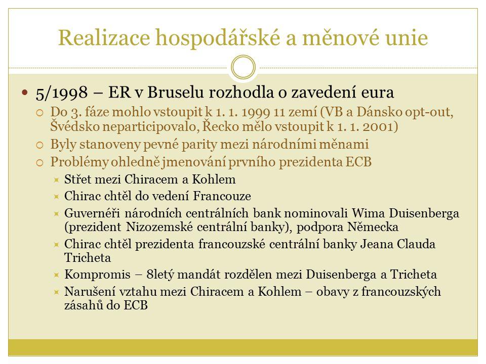 Realizace hospodářské a měnové unie 5/1998 – ER v Bruselu rozhodla o zavedení eura  Do 3.