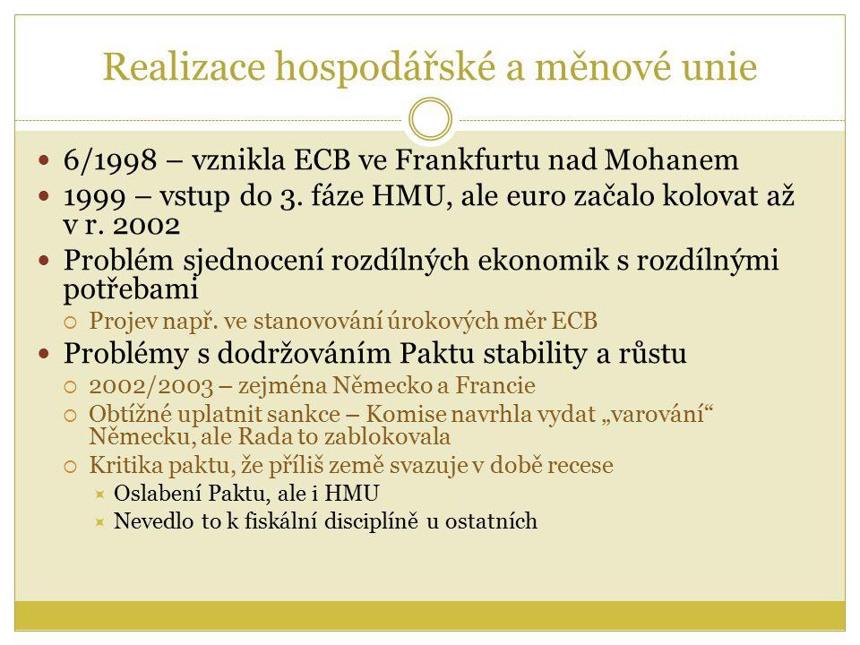 Realizace hospodářské a měnové unie 6/1998 – vznikla ECB ve Frankfurtu nad Mohanem 1999 – vstup do 3.