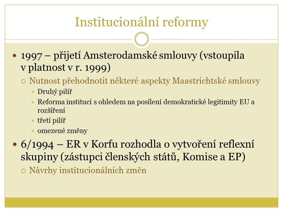 Institucionální reformy 1997 – přijetí Amsterodamské smlouvy (vstoupila v platnost v r.