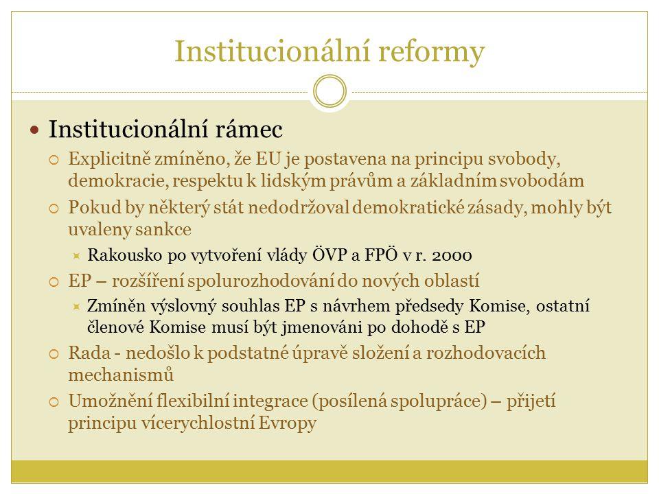 Institucionální reformy Institucionální rámec  Explicitně zmíněno, že EU je postavena na principu svobody, demokracie, respektu k lidským právům a základním svobodám  Pokud by některý stát nedodržoval demokratické zásady, mohly být uvaleny sankce  Rakousko po vytvoření vlády ÖVP a FPÖ v r.