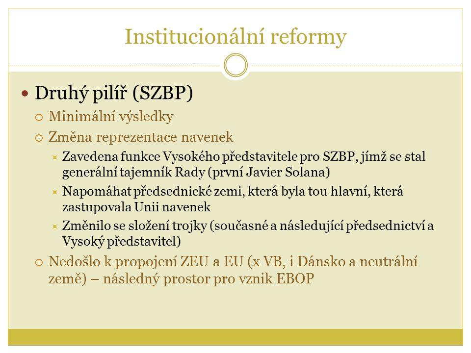 Institucionální reformy Druhý pilíř (SZBP)  Minimální výsledky  Změna reprezentace navenek  Zavedena funkce Vysokého představitele pro SZBP, jímž se stal generální tajemník Rady (první Javier Solana)  Napomáhat předsednické zemi, která byla tou hlavní, která zastupovala Unii navenek  Změnilo se složení trojky (současné a následující předsednictví a Vysoký představitel)  Nedošlo k propojení ZEU a EU (x VB, i Dánsko a neutrální země) – následný prostor pro vznik EBOP