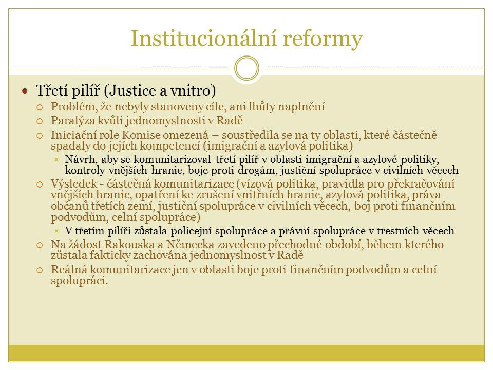 Institucionální reformy Třetí pilíř (Justice a vnitro)  Problém, že nebyly stanoveny cíle, ani lhůty naplnění  Paralýza kvůli jednomyslnosti v Radě  Iniciační role Komise omezená – soustředila se na ty oblasti, které částečně spadaly do jejích kompetencí (imigrační a azylová politika)  Návrh, aby se komunitarizoval třetí pilíř v oblasti imigrační a azylové politiky, kontroly vnějších hranic, boje proti drogám, justiční spolupráce v civilních věcech  Výsledek - částečná komunitarizace (vízová politika, pravidla pro překračování vnějších hranic, opatření ke zrušení vnitřních hranic, azylová politika, práva občanů třetích zemí, justiční spolupráce v civilních věcech, boj proti finančním podvodům, celní spolupráce)  V třetím pilíři zůstala policejní spolupráce a právní spolupráce v trestních věcech  Na žádost Rakouska a Německa zavedeno přechodné období, během kterého zůstala fakticky zachována jednomyslnost v Radě  Reálná komunitarizace jen v oblasti boje proti finančním podvodům a celní spolupráci.