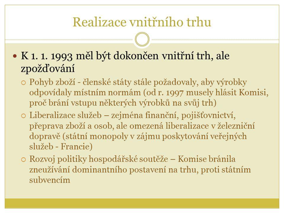 Realizace vnitřního trhu K 1. 1.