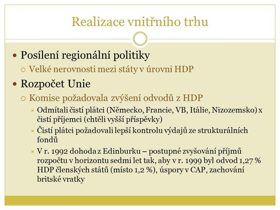 Realizace vnitřního trhu Posílení regionální politiky  Velké nerovnosti mezi státy v úrovni HDP Rozpočet Unie  Komise požadovala zvýšení odvodů z HDP  Odmítali čistí plátci (Německo, Francie, VB, Itálie, Nizozemsko) x čistí příjemci (chtěli vyšší příspěvky)  Čistí plátci požadovali lepší kontrolu výdajů ze strukturálních fondů  V r.