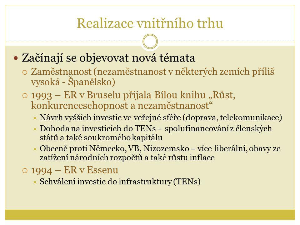 """Realizace vnitřního trhu Začínají se objevovat nová témata  Zaměstnanost (nezaměstnanost v některých zemích příliš vysoká - Španělsko)  1993 – ER v Bruselu přijala Bílou knihu """"Růst, konkurenceschopnost a nezaměstnanost  Návrh vyšších investic ve veřejné sféře (doprava, telekomunikace)  Dohoda na investicích do TENs – spolufinancování z členských států a také soukromého kapitálu  Obecně proti Německo, VB, Nizozemsko – více liberální, obavy ze zatížení národních rozpočtů a také růstu inflace  1994 – ER v Essenu  Schválení investic do infrastruktury (TENs)"""