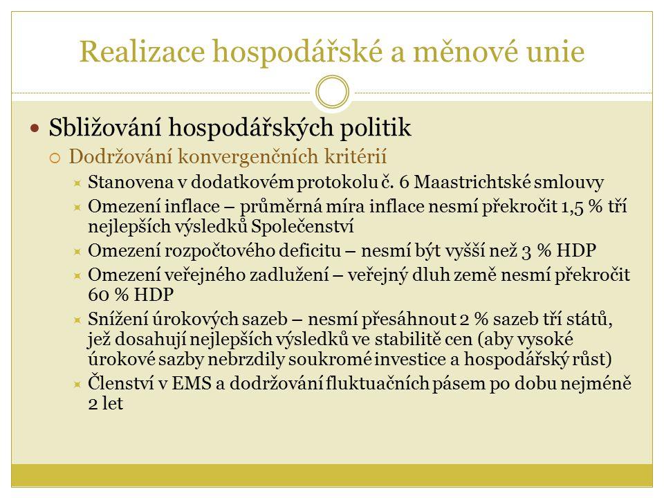 Realizace hospodářské a měnové unie Sbližování hospodářských politik  Dodržování konvergenčních kritérií  Stanovena v dodatkovém protokolu č.