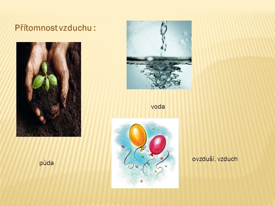 Přítomnost vzduchu : půda voda ovzduší, vzduch