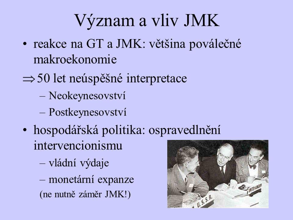 Význam a vliv JMK reakce na GT a JMK: většina poválečné makroekonomie  50 let neúspěšné interpretace –Neokeynesovství –Postkeynesovství hospodářská p