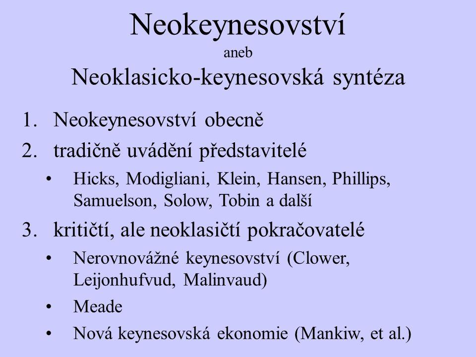 Neokeynesovství aneb Neoklasicko-keynesovská syntéza 1.Neokeynesovství obecně 2.tradičně uvádění představitelé Hicks, Modigliani, Klein, Hansen, Phill
