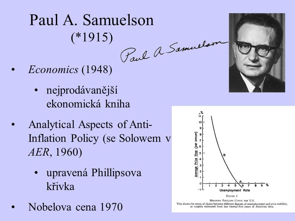 Paul A. Samuelson (*1915) Economics (1948) nejprodávanější ekonomická kniha Analytical Aspects of Anti- Inflation Policy (se Solowem v AER, 1960) upra