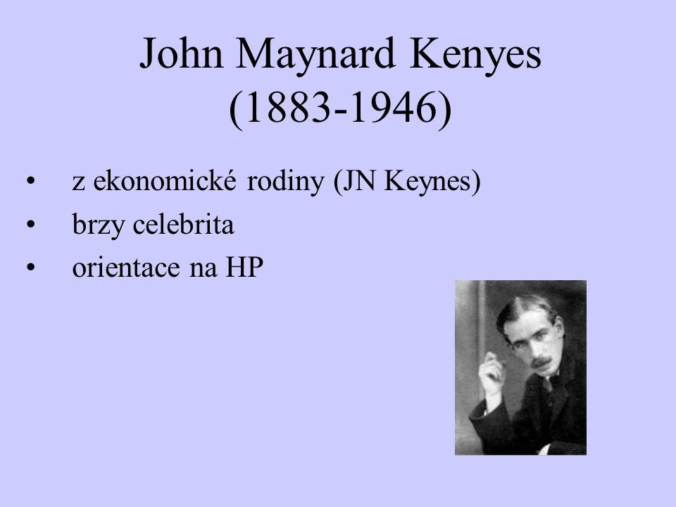 John Maynard Kenyes (1883-1946) z ekonomické rodiny (JN Keynes) brzy celebrita orientace na HP