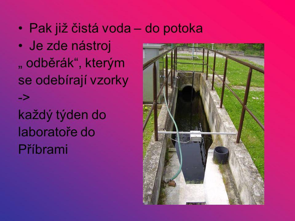 """Pak již čistá voda – do potoka Je zde nástroj """" odběrák"""", kterým se odebírají vzorky -> každý týden do laboratoře do Příbrami"""
