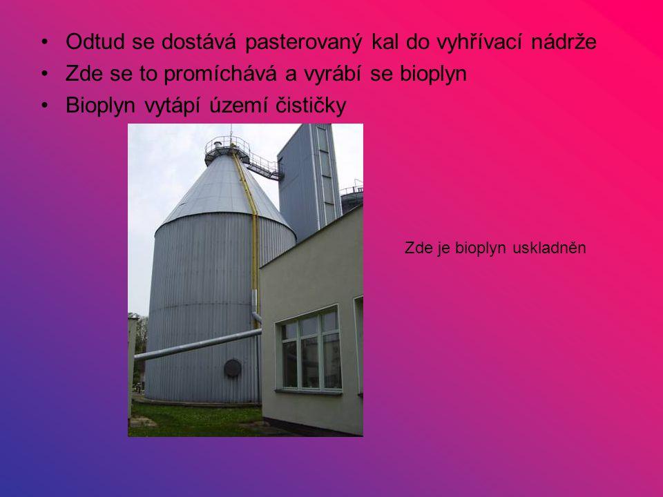 Odtud se dostává pasterovaný kal do vyhřívací nádrže Zde se to promíchává a vyrábí se bioplyn Bioplyn vytápí území čističky Zde je bioplyn uskladněn
